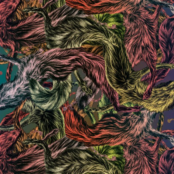 fox furs fabric by Arlette Ess