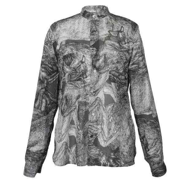 fine lightweight cotton shirt with dogs print