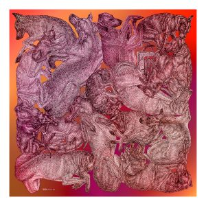 Silk cotton scarf with dog print by Arlette Ess