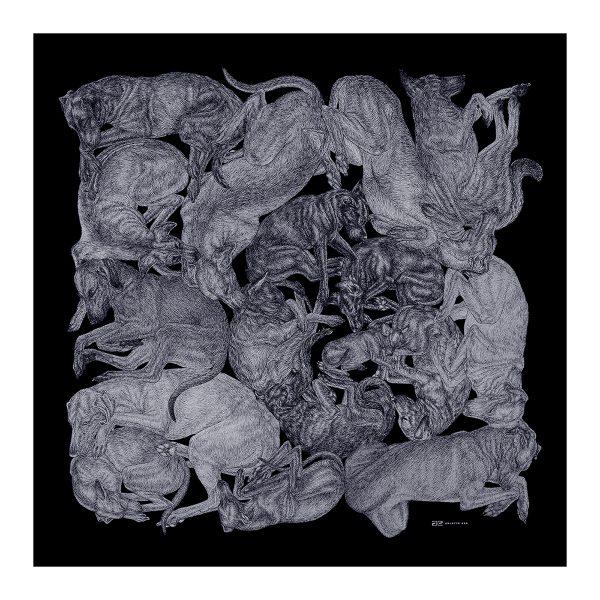 monochrome dog print scarf on black background