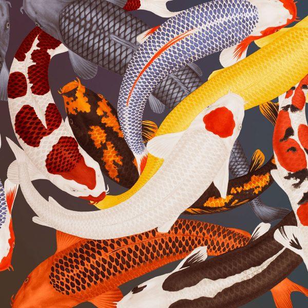 Furnishing fabric featuring Koi