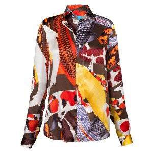 Printed silk shirt with Koi painting by Arlette Ess