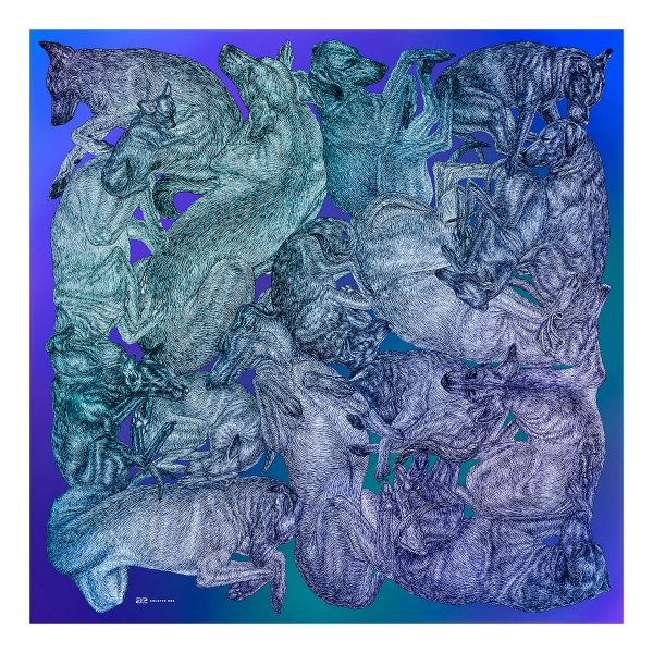 Large silk cotton scarf featuring dogs by Arlette Ess