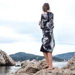 koi fish print monochrome beach cover scarf silk cotton