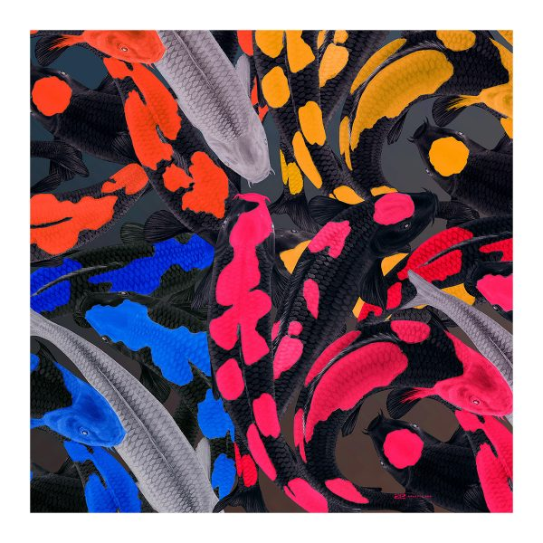 Silk twill scarf with Koi print in psychedelic colours