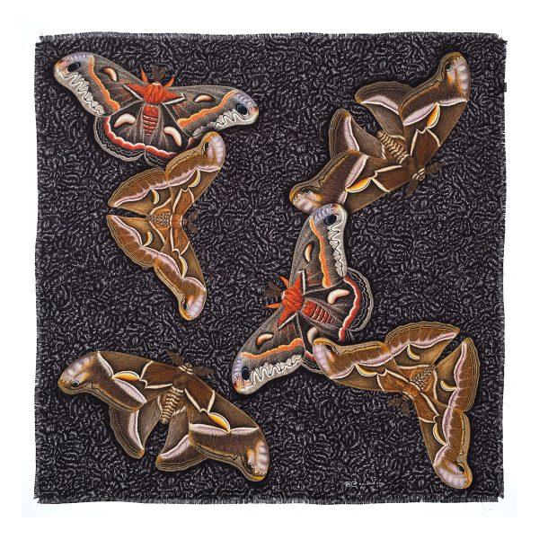 silk moth scarf flat